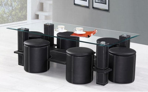 FurnitureMattressDirect- COFFEE TABLE WITH 6 STOOLS - BLACK