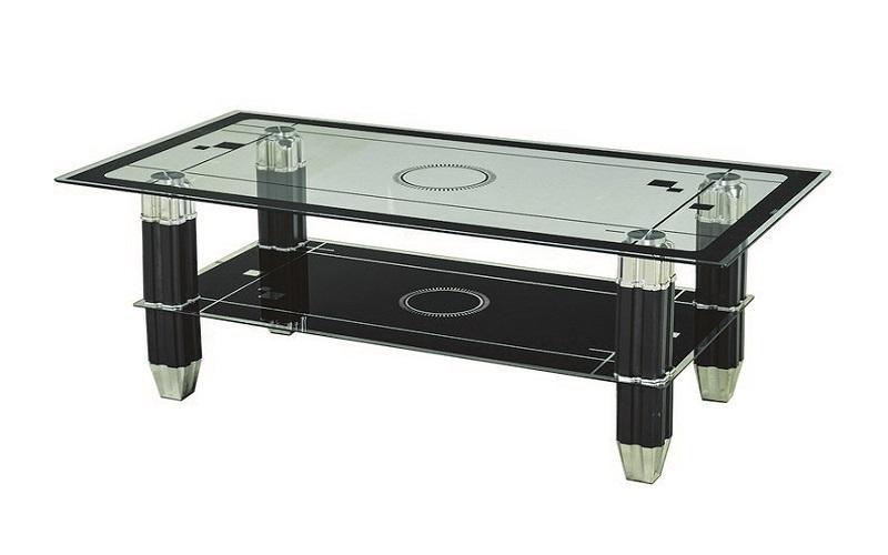 FurnitureMattressDirect- COFFEE TABLE WITH GLASS TOP - BLACK AA