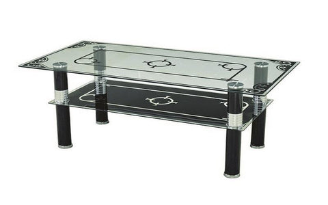 FurnitureMattressDirect- COFFEE TABLE WITH GLASS TOP - BLACK