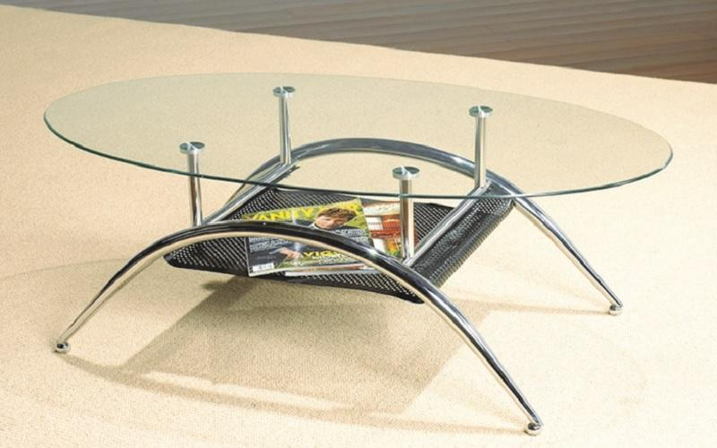 FurnitureMattressDirect- COFFEE TABLE WITH GLASS TOP - CHROME