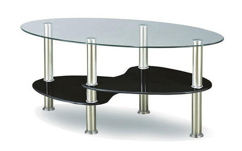 Image of FurnitureMattressDirect- COFFEE TABLE WITH GLASS TOP - CHROME  WHITE  BLACK