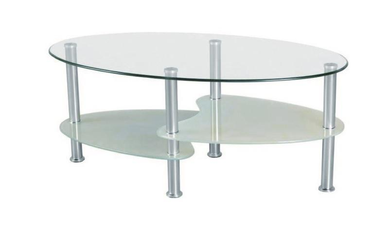 FurnitureMattressDirect- COFFEE TABLE WITH GLASS TOP - CHROME  WHITE  BLACK