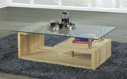 FurnitureMattressDirect- COFFEE TABLE WITH GLASS TOP - WOOD