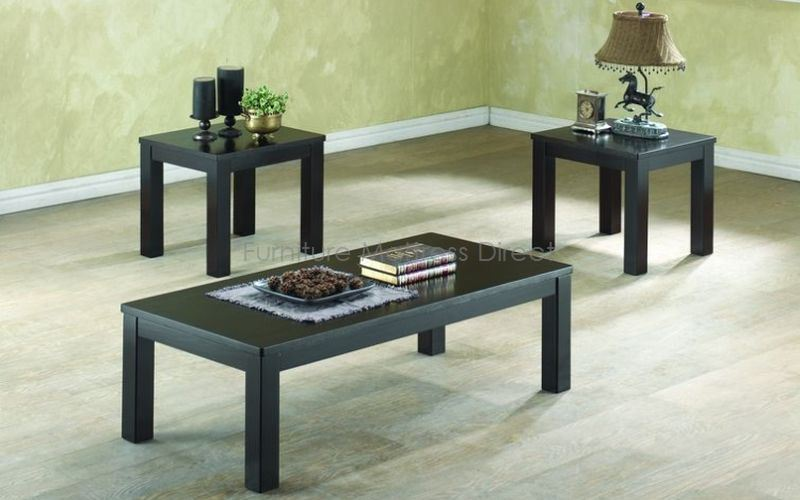 FurnitureMattressDirect- Coffee Table Set - 3 pc (Black)