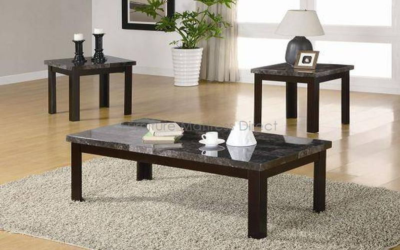 FurnitureMattressDirect- Coffee Table Set - 3 pc (Espresso with Faux Marble Top)