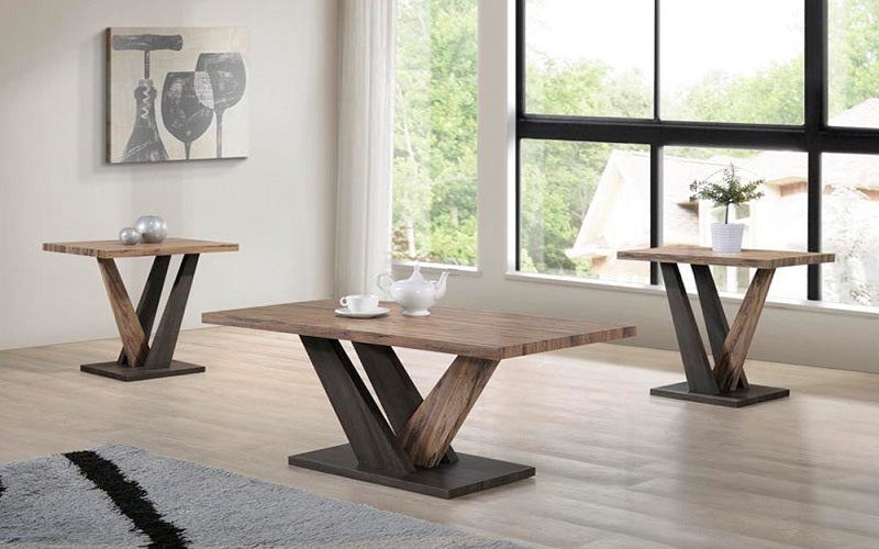 FurnitureMattressDirect- Coffee Table Set - Distressed Oak & Espresso
