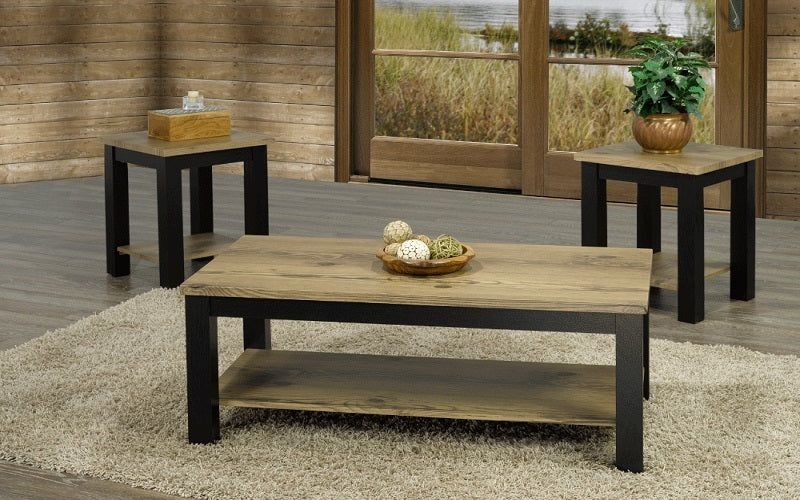 FurnitureMattressDirect- Coffee Table Set - Driftwood Oak & Espresso