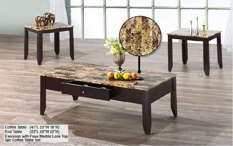 COFFEE TABLE SET WITH DRAWER - 3 PC (ESPRESSO WITH FAUX MARBLE TOP)
