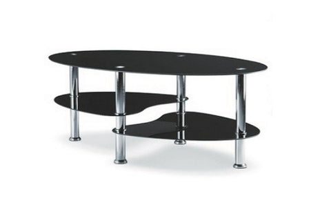 Image of FurnitureMattressDirect- Coffee Table Set with Glass Top - 3 pc - Chrome  Black  1