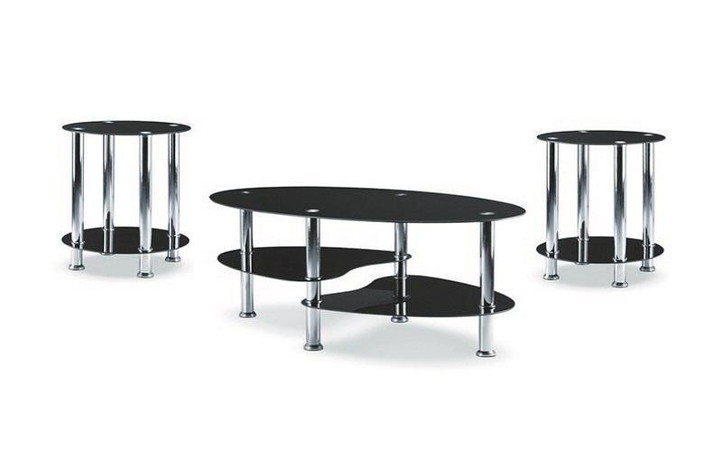 FurnitureMattressDirect- Coffee Table Set with Glass Top - 3 pc - Chrome  Black  2