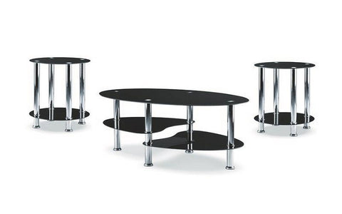 Image of FurnitureMattressDirect- Coffee Table Set with Glass Top - 3 pc - Chrome  Black  2