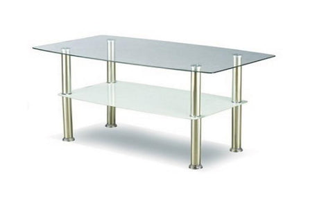 FurnitureMattressDirect- Coffee Table Set with Glass Top - 3 pc - Chrome  White II