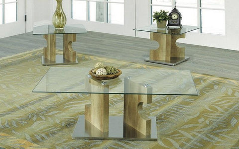FurnitureMattressDirect- Coffee Table Set with Glass Top - 3 pc - Reclaimed Wood