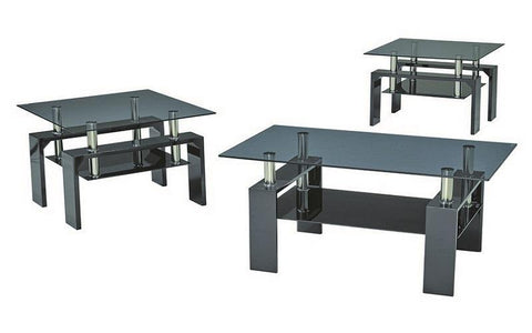 FurnitureMattressDirect- Coffee Table Set with Glass Top with Shelf - 3 pc - Black III