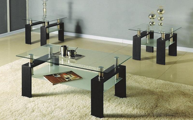 FurnitureMattressDirect- Coffee Table Set with Glass Top with Shelf - 3 pc - Espresso