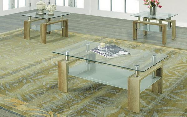FurnitureMattressDirect- Coffee Table Set with Glass Top with Shelf - 3 pc - Reclaimed Wood