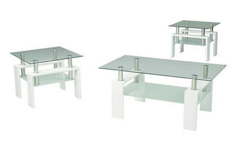 FurnitureMattressDirect- Coffee Table Set with Glass Top with Shelf - 3 pc - White III