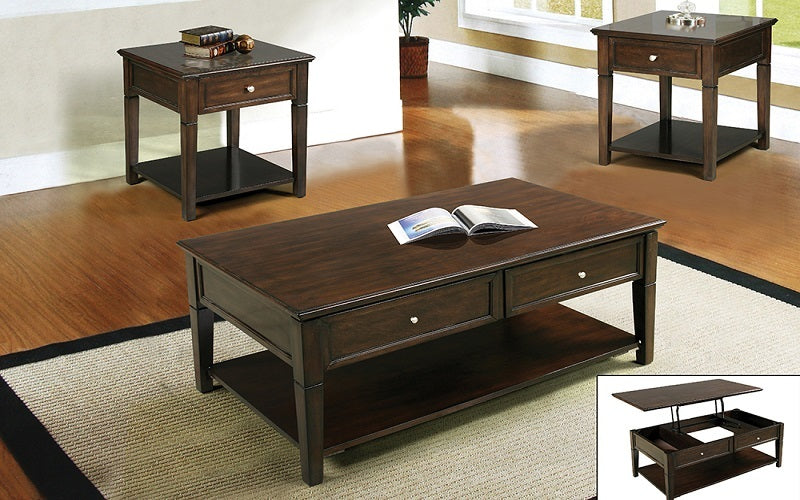 FurnitureMattressDirect- Coffee Table Set with Lift Top - Mahogany