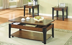 FurnitureMattressDirect- Coffee Table Set with Lift Top & Drawer - 3 pc - Black Walnut