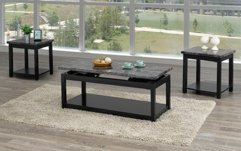 FurnitureMattressDirect- Coffee Table Set with Marble Lift Top - 3 pc - Black  Grey