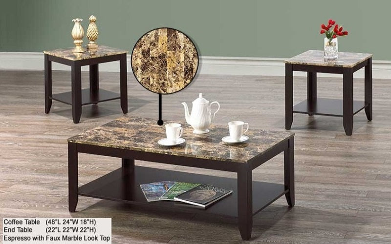 FurnitureMattressDirect- Coffee Table Set with Shelf - 3 pc (Espresso with Faux Marble Top)