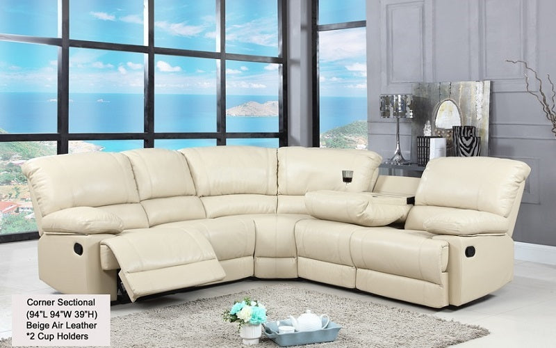 FurnitureMattressDirect- Corner Recliner Sectional - Air Leather (Beige)