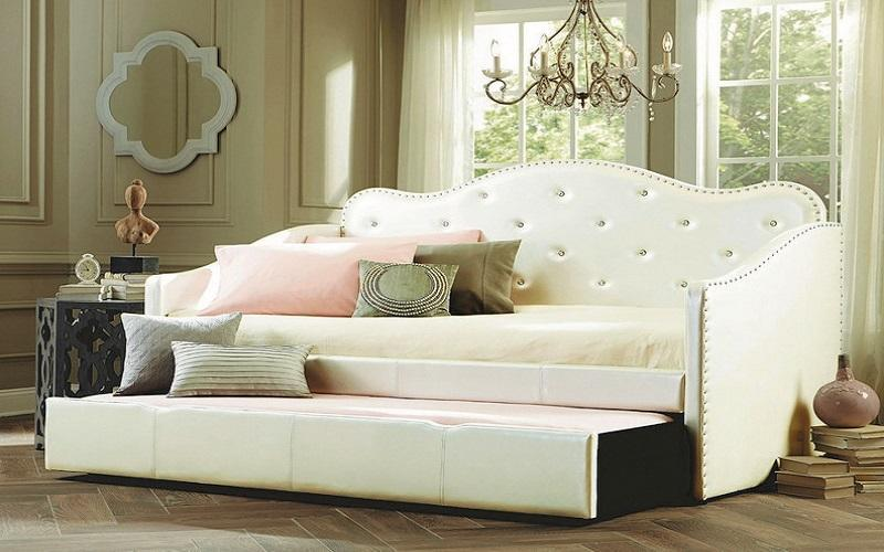 FurnitureMattressDirect- Day Bed with Crystal and Twin Trundle - White01