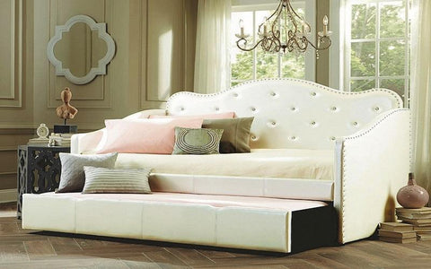 Image of FurnitureMattressDirect- Day Bed with Crystal and Twin Trundle - White01