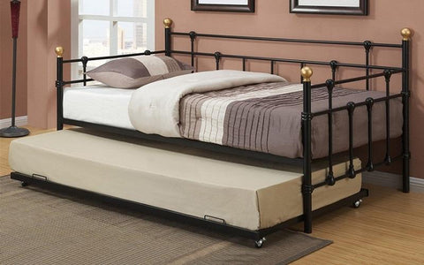 Image of FurnitureMattressDirect- Day Bed with Metal and Twin Trundle - Black A-TB116