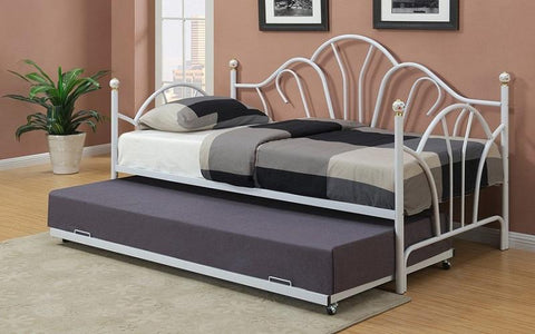 FurnitureMattressDirect- Day Bed with Metal and Twin Trundle - White II1