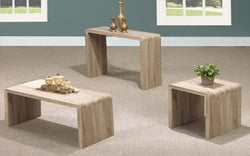 FurnitureMattressDirect- Distressed Driftwood Coffee Table Set - 3 pc