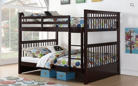 Image of FurnitureMattressDirect-Bunk Bed - Double over Double Mission Style with or without Drawers Solid Wood - Espresso A27