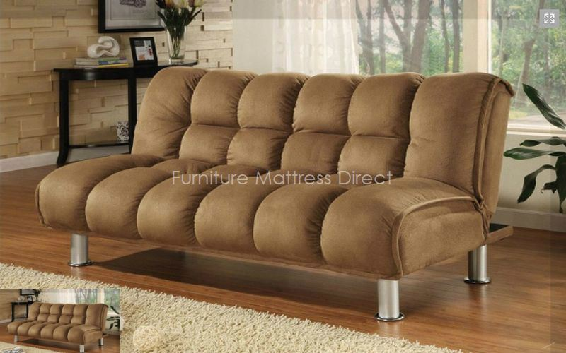FurnitureMattressDirect- Fabric Klick Klack Sofa Bed (Brown)
