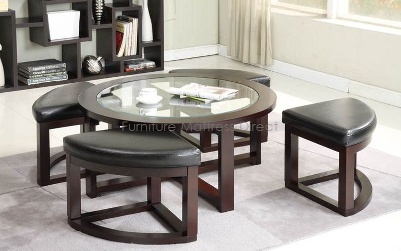 FurnitureMattressDirect- Glass Top Coffee Table with 4 wedge stools02