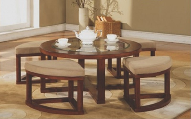 FurnitureMattressDirect- Glass Top Coffee Table with 4 wedge stools03