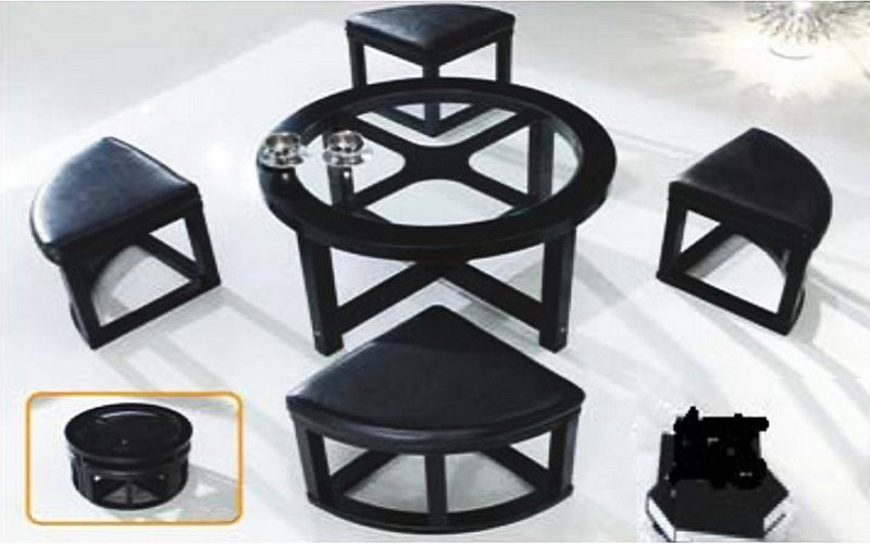 FurnitureMattressDirect- Glass Top Coffee Table with 4 wedge stools