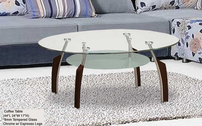 FurnitureMattressDirect- Glass Top Coffee Table with clear glass shelf