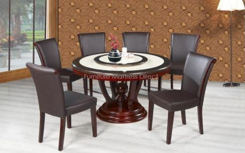 FurnitureMattressDirect- Marble Top Dining Set with Cherry Wood (Espresso)