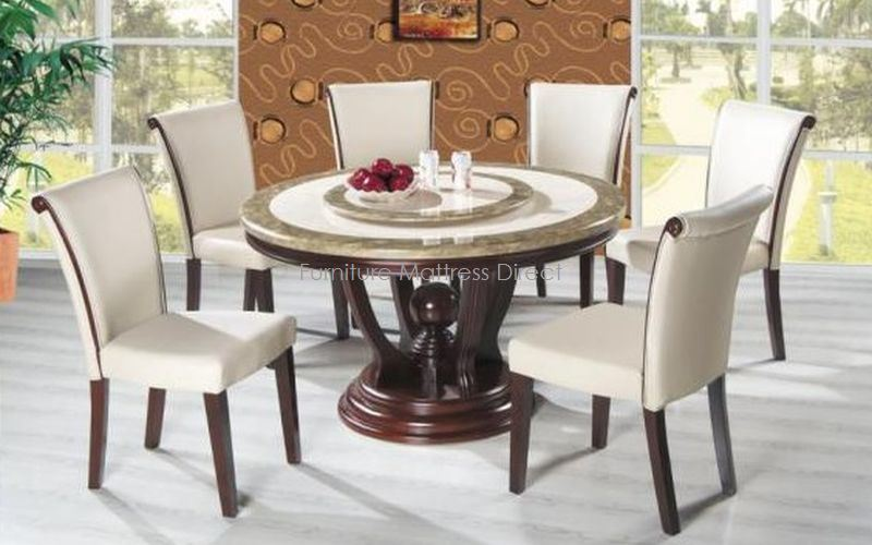 FurnitureMattressDirect- Marble Top Dining Set with Cherry Wood (Ivory)