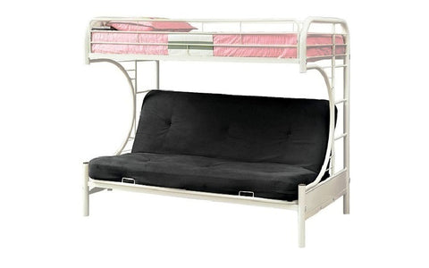 Image of FurnitureMattressDirect - Futon Bunk Bed - Twin over Double with Metal - Black | White | Grey A23