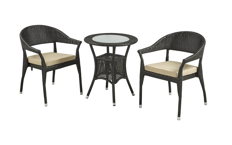 FurnitureMattressDirect- Outdoor Bistro Set with Centre Table (Natural & Beige)