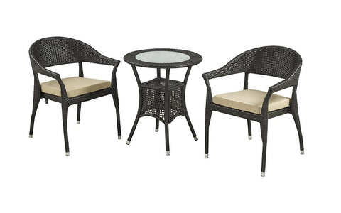"Outdoor Bistro Set with Centre Table (Natural & Beige) with Bige Polyester water-resistant cushions   Model- OF-07-XL   Table: L23.6"" x W23.6"" x L28"" Chair: L22.8"" x W24.4"" x L31""   Colour- Natural & Beige Material- Wicker material and Polyester water-resistant Fabric"