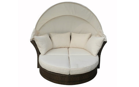 FurnitureMattressDirect- Outdoor Day Bed with Cushios (Beige & Espresso)1