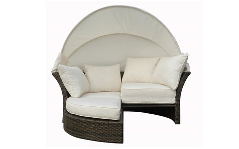 Image of FurnitureMattressDirect- Outdoor Day Bed with Cushios (Beige & Espresso)1