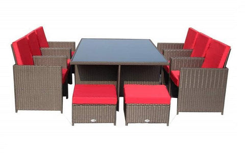 Image of FurnitureMattressDirect- Outdoor Dining Set - 11 pc (Brown & Red)1