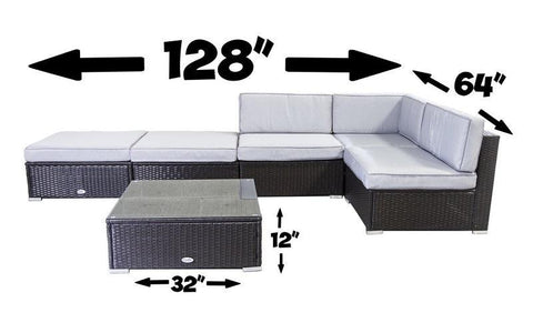 Image of FurnitureMattressDirect- Outdoor Sectional Set - 6 pc (Dark Brown & Grey)1