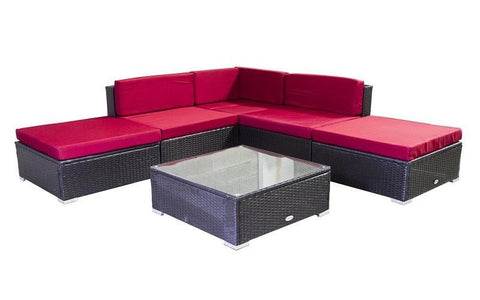 Image of FurnitureMattressDirect- Outdoor Sectional Set - 6 pc (Dark Brown & Red)01