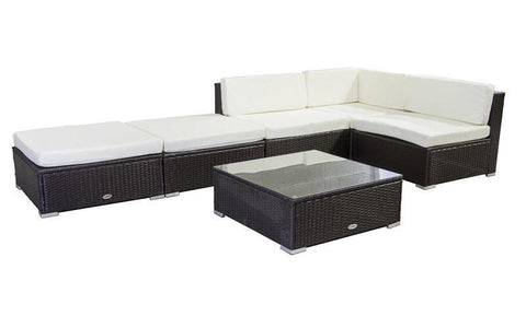 Image of FurnitureMattressDirect- Outdoor Sectional Set - 6 pc (Dark Brown & White)01