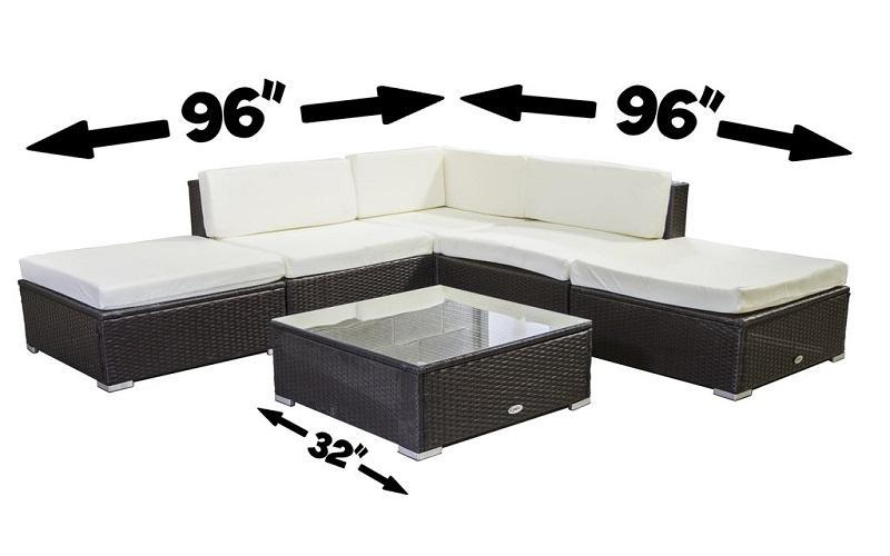 FurnitureMattressDirect- Outdoor Sectional Set - 6 pc (Dark Brown & White)01