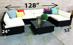 FurnitureMattressDirect- Outdoor Sectional Set - 7 pc (Dark Brown & White)01